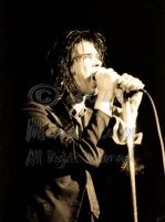 Nick Cave bellows & Blixa Bargeld in background [Nick Cave & The Bad Seeds - I Beam, SF 10-28-86]