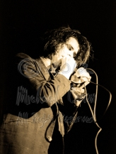 Nick Cave eyes closed mic to mouth [Nick Cave & The Bad Seeds - I Beam, SF 10-28-86]