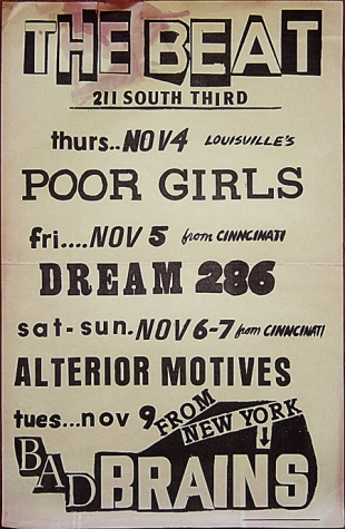 The Beat [club]; Louisville, Kentucky-November, 1982 flyer featuring Poor Girls; Bad Brains