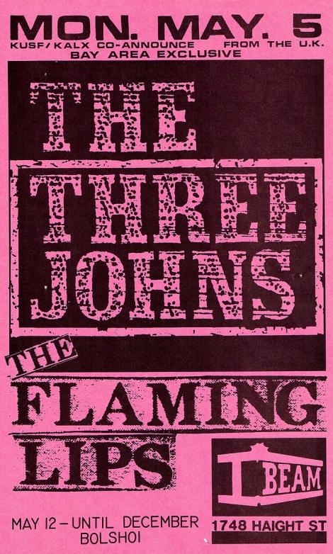 Three Johns & Flaming Lips flyer I-Beam copy