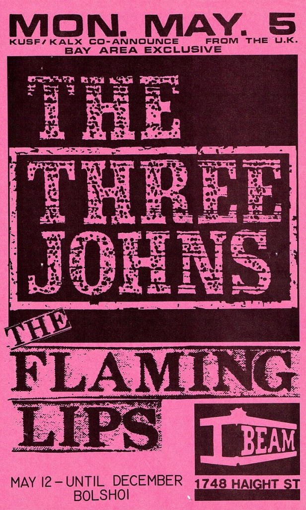 Three Johns & Flaming Lips flyer I-Beam copy