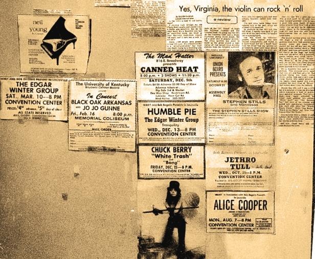 Michael Conen - Flyers on bedroom wall circa '72 closeup