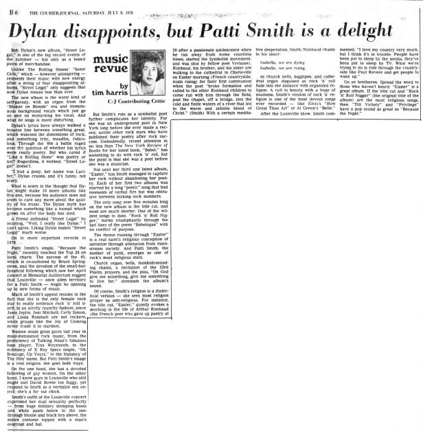 patti-smith-bob-dylan-review-7-8-78
