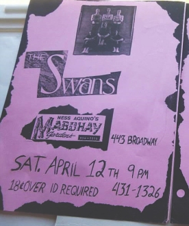 The Swans at the Mab poster, as supplied by Cary [December, 2017]