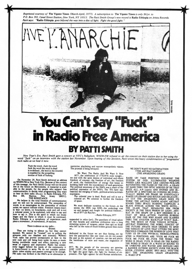 Patti Smith - You Can't Say article