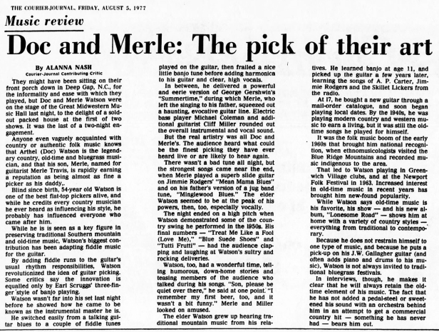 Doc and Merle Watson review [8-5-77]