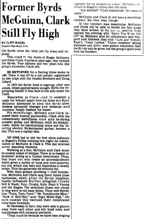 McGuinn & Clark review [Cincinnati Enquirer 4-15-1978]