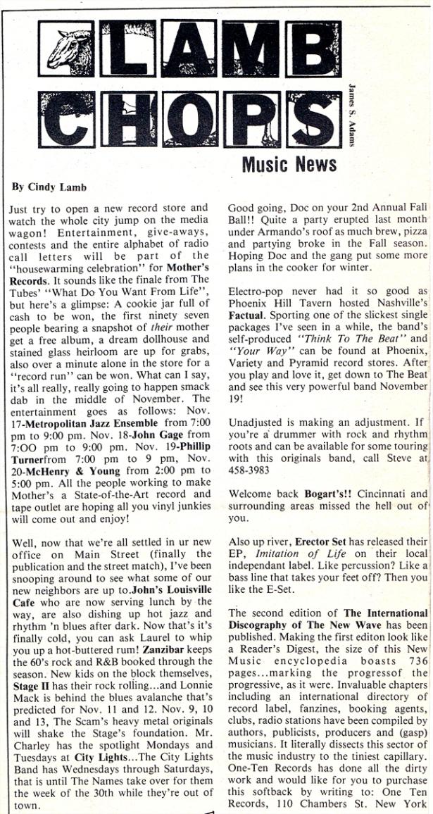 Lamb Chops - MainStreet pg 1 [Nov 1982]
