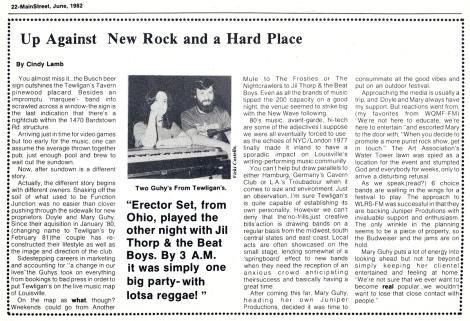 Tewligan's owners profile - MainStreet [June 1982]