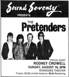 AD - PRETENDERS CROWELL - The_Tennessean_Sun__Aug_9__1981_ copy