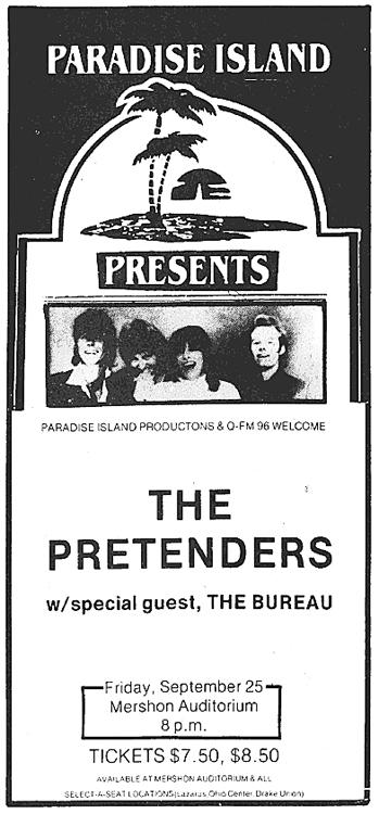 Pretenders Ad - Mershon Auditorium [Ohio State Lantern]