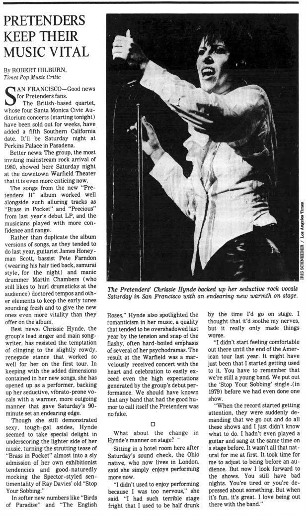 Pretenders article The_Los_Angeles_Times_Mon__Aug_31__1981_ copy