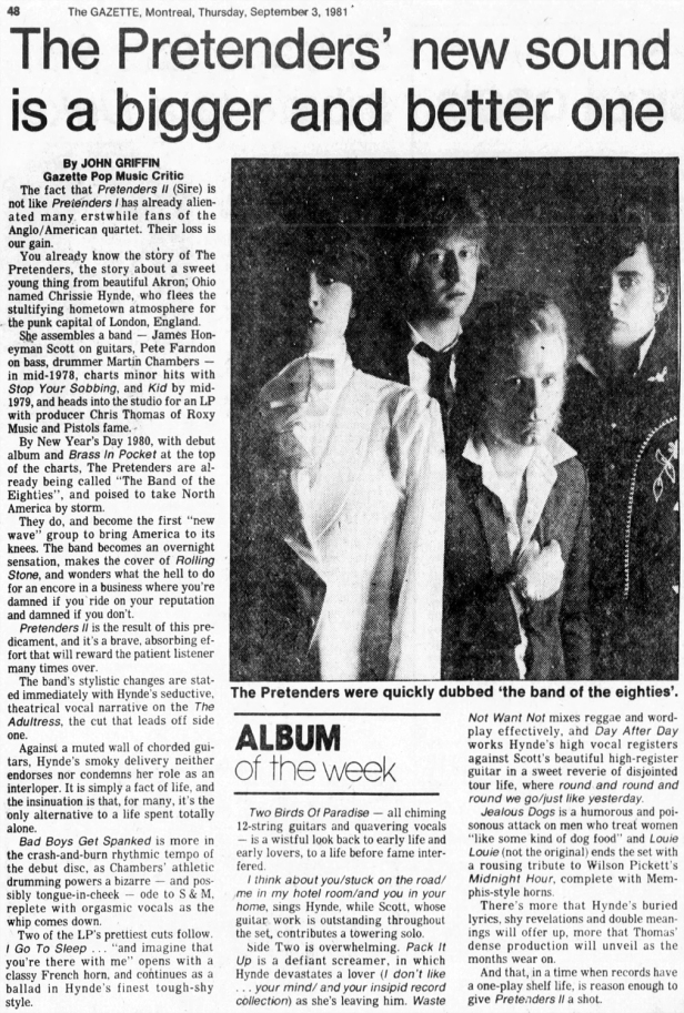 Pretenders II Review The_Gazette_Thu__Sep_3__1981_ copy