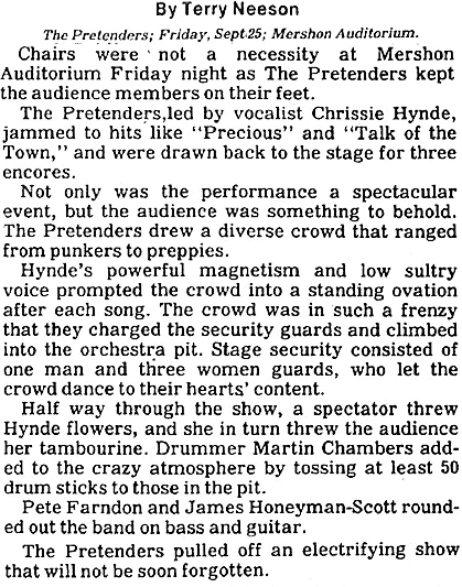 Pretenders review Mershon Auditorium [Ohio State Lantern]