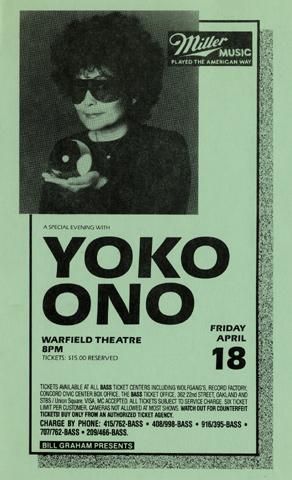 yoko ono handbill warfield 1986