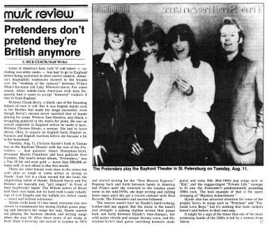 Pretenders article The_Tampa_Times_Fri__Aug_7__1981_ copy