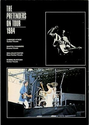 Pretenders back cvr 1984 tourbook rockandrollwarehouse
