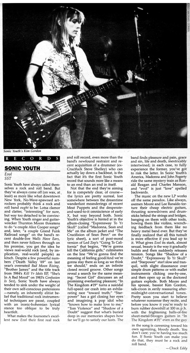 Sonic Youth review BAM [9-16-86]