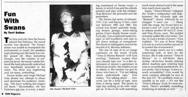 Swans BAM [June July 1986] ephemera