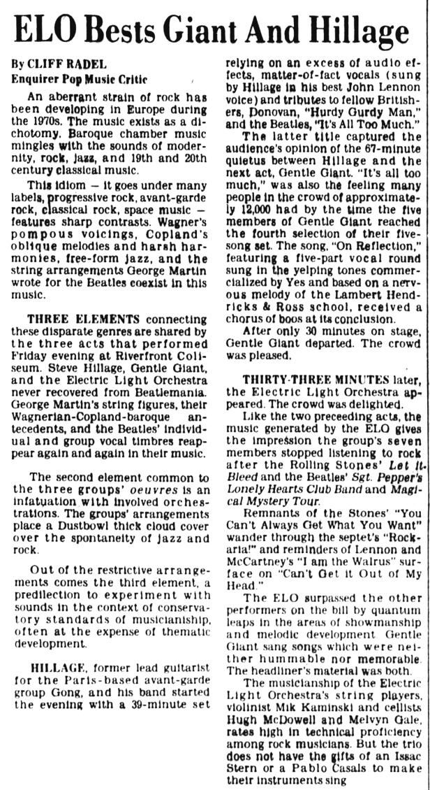 ELO & Gentle Giant & Steve Hillage Review_Cincinnati_Enquirer_Mon__Feb_21__1977