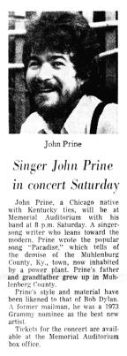 John Prine blurb Memorial Auditorium__Jun_1__1975