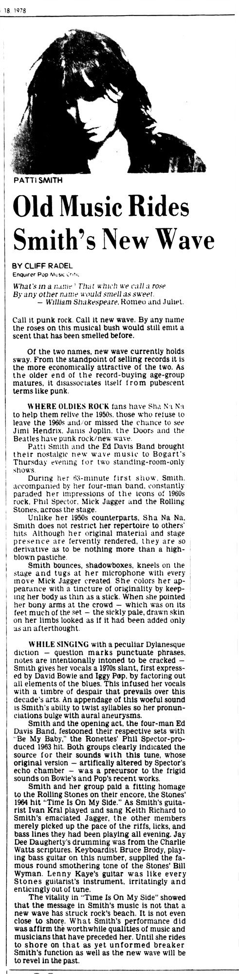 Patti Smith Bogart's Review_Cincinnati_Enquirer_Sat__Feb_18__1978