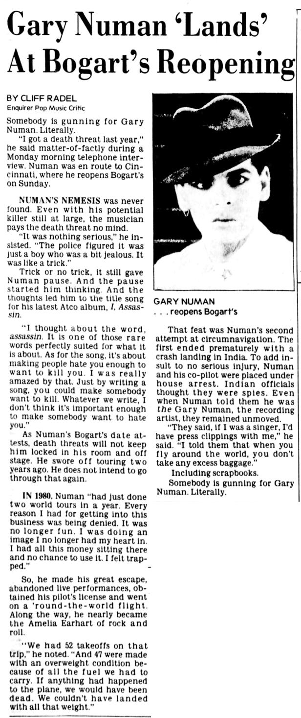 Gary Numan Review - Bogart's Cincinnati_Enquirer_Tue__Nov_2__1982
